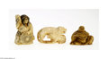 Decorative Arts, Continental:Other , A COLLECTION OF THREE JAPANESE NETSUKE... (3 Items)