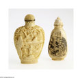 Decorative Arts, Continental:Other , TWO ASIAN SNUFF BOTTLES... (2 Items)