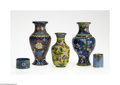 Decorative Arts, Continental:Other , THREE CLOISONNE VASES, A TOOTHPICK HOLDER AND NAPKIN RING... (5Items)
