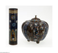 Decorative Arts, Continental:Other , A CLOISONNE LIDDED JAR AND TUBE... (2 Items)