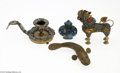 Decorative Arts, Continental:Other , FOUR ASIAN ENAMEL ITEMS... (4 Items)