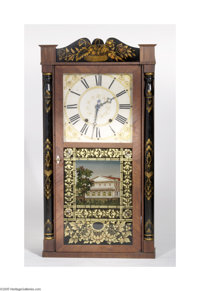 AN AMERICAN WALL CLOCK Ephraim Downs, active from 1811 to 1843  The two-weight works striking on the hours, the dial wit...