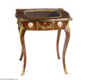 Furniture : Continental, A MAHOGANY VITRINE TABLE...