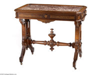 AN AMERICAN WALNUT CENTRE TABLE Maker unknown, c.1875  The rouge marble insert framed with rectangular molding with cant...