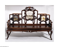A QING DYNASTY SOFA-BED Maker unknown, 1900  The hong-mu (blackwood) frame with three 'picture' marble inserts in the ba...