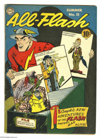 All-Flash #15 (DC, 1944) Condition: VG. The Flash introduces three new adventures on this cover, done by Martin Nodell i...