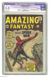 Amazing Fantasy #15 (Marvel, 1962) CGC Apparent VG/FN 5.0 Extensive (P) Cream to off-white pages. Perhaps the most desir...