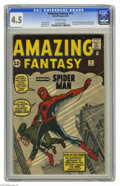Silver Age (1956-1969):Superhero, Amazing Fantasy #15 (Marvel, 1962) CGC VG+ 4.5 Off-white pages. This is the most valuable comic book of the Silver Age accor...