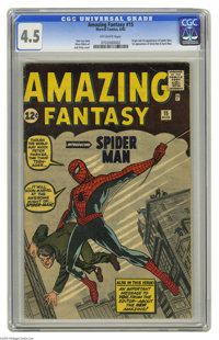 Amazing Fantasy #15 (Marvel, 1962) CGC VG+ 4.5 Off-white pages. This is the most valuable comic book of the Silver Age a...