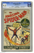 Silver Age (1956-1969):Superhero, The Amazing Spider-Man #1 (Marvel, 1963) CGC VG+ 4.5 Off-white towhite pages. Marvel's most famous and enduring character d...
