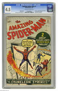 The Amazing Spider-Man #1 (Marvel, 1963) CGC VG+ 4.5 Off-white to white pages. Marvel's most famous and enduring charact...