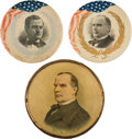 Political:Pinback Buttons (1896-present), William Jennings Bryan & William McKinley: Three Impressive Large 1896 Campaign Badges.... (Total: 3 Items)