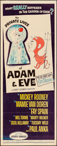 """Movie Posters:Comedy, The Private Lives of Adam and Eve (Universal International, 1960) Folded, Fine+. Insert (14"""" X 36""""). Comedy.. ..."""