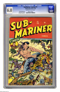 Sub-Mariner Comics #15 (Timely, 1944) CGC FN 6.0 Off-white to white pages. The Sub-Mariner looms large on this action-pa...