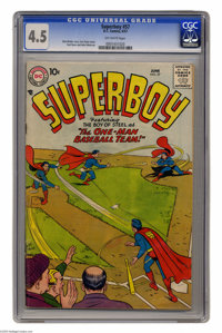 Superboy #57 (DC, 1957) CGC VG+ 4.5 Off-white pages. Curt Swan cover. Swan and John Sikela art. Overstreet 2004 VG 4.0 v...