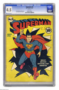 Golden Age (1938-1955):Superhero, Superman #9 (DC, 1941) CGC VG+ 4.5 White pages. Fred Ray has Superman literally bursting from the cover of this comic. Great...
