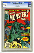 Bronze Age (1970-1979):Horror, Where Monsters Dwell #28 (Marvel, 1974) CGC NM 9.4 Off-white pages.Overstreet 2004 NM- 9.2 value = $15. CGC census 3/05: 1 ...