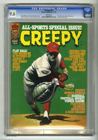 Creepy #84 (Warren, 1976) CGC NM+ 9.6 White pages. Sports theme issue. Letter from Gene Day. Ken Kelly cover. Richard Co...