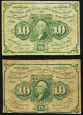 Fractional Currency:First Issue, Fr. 1242 10¢ First Issue VG-Fine;. Fr. 1243 10¢ First Issue Fine.. ... (Total: 2 notes)