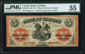 Canadian Currency, Clifton, PC- Bank of Clifton 5 Dollars 1.9.1861 Ch. # 125-12-18 PMGAbout Uncirculated 55.. ...