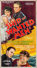 """Movie Posters:Drama, Ship of Wanted Men (Showmens Pictures, 1933) Folded, Fine+. Three Sheet (41"""" X 77""""). Drama.. ..."""