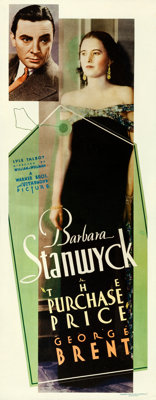 """The Purchase Price (Warner Brothers, 1932). Fine+ on Paper. Insert (14"""" X 36"""")"""