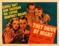 "Movie Posters:Drama, They Drive by Night (Warner Brothers, 1940). Fine/Very Fine on Paper. Linen Finish Half Sheet (22"" X 28"").. ..."