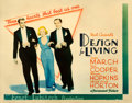 """Movie Posters:Comedy, Design for Living (Paramount, 1933). Rolled, Fine+. Half Sheet (22"""" X 28"""") Style A.. ..."""