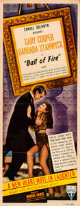 """Movie Posters:Comedy, Ball of Fire (RKO, 1941). Folded, Very Fine. Insert (14"""" X 36"""")....."""