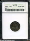"""Bust Dimes: , 1834 10C Small 4 AU50 ANACS JR-5. The current Coin DealerNewsletter (Greysheet) wholesale """"bid"""" price is $290.00...."""