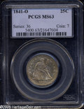 Seated Quarters: , 1841-O 25C MS63 PCGS. Dense mustard-yellow and gold ...