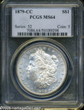 "Morgan Dollars: , 1879-CC S$1 MS64 PCGS. The current Coin Dealer Newsletter(Greysheet) wholesale ""bid"" price is $7500.00...."