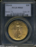 "Saint-Gaudens Double Eagles: , 1924-D $20 MS63 PCGS. The current Coin Dealer Newsletter(Greysheet) wholesale ""bid"" price is $6000.00...."