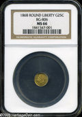 California Fractional Gold: , 1868 25C Liberty Round 25 Cents, BG-806, R.3, MS66 NGC....