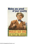 Vintage Posters:Miscellaneous, New York World's Fair 1940 (Grinnell Litho, 1939)...