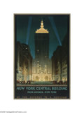 Vintage Posters:Miscellaneous, New York Central Building (Latham Litho and PTG. Co., Long Island, NY, 1930)...