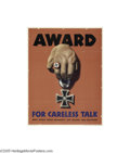 Vintage Posters:WWII, Award For Careless Talk (U.S. Government Printing Office, 1944)...