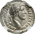 Ancients:Roman Imperial, Ancients: Antoninus Pius (AD 138-161). AR denarius (3.84 gm). NGC Choice MS 4/5 - 5/5. ...