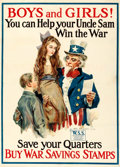 "Movie Posters:War, World War I Propaganda by James Montgomery Flagg (1917-1918). Fine+ on Linen. War Stamp Poster (28.5"" X 39.5"") ""Boys and Gir..."