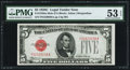 Small Size:Legal Tender Notes, Fr. 1528 $5 1928C Mule Legal Tender Note. F-A Block. PMG About Uncirculated 53 EPQ.. ...