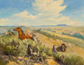 Fine Art - Painting, American, George Phippen (American, 1915-1966). The Wild Bunch, 1949.Oil on canvas. 28 x 36 inches (71.1 x 91.4 cm). Signed and d...