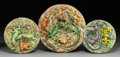 Decorative Arts, Continental:Other, A Group of Three Portuguese Palissy Ware Platters, Caldas daRainha, Portugal, late 19th century. Marks to largest and mediu...(Total: 3 Items)