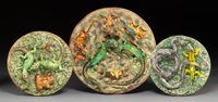 A Group of Three Portuguese Palissy Ware Platters, Caldas da Rainha, Portugal, late 19th century Marks to largest