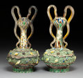 Ceramics & Porcelain:Other, A Pair of French Palissy Ware Two-Handled Vases, late 19th century . 12-3/4 x 7 x 6-1/2 inches (32.4 x 17.8 x 16.5 cm) (each... (Total: 2 Items)