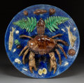 Ceramics & Porcelain:Other, A François Maurice Palissy Ware Platter with Crab, Paris, late 19th century. Marks: F. Maurice. 2-3/4 x 15-1/4 inches (7...