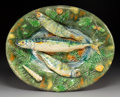 Ceramics & Porcelain:Other, An Alfred Renoleau for Polakowski & Cie Palissy Ware Oval Platter, Roumazières-Loubert, France, late 19th century. Marks: ...