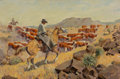 Fine Art - Painting, American, George Phippen (American, 1915-1966). The Cattle Drive. Oilon canvas. 24 x 36 inches (61.0 x 91.4 cm). Signed lower rig...