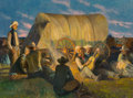 Fine Art - Painting, American, Robert Wesley Amick (American, 1879-1969). Campfire Song.Oil on canvas. 30 x 40-1/2 inches (76.2 x 102.9 cm). Signed lo...