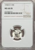 Mercury Dimes: , 1944-D 10C MS68 Full Bands NGC. NGC Census: (50/0). PCGSPopulation: (103/0). Mintage 62,224,000. . From The FiveGene...