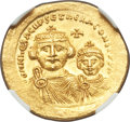 Ancients:Byzantine, Ancients: Heraclius (AD 610-641) and Heraclius Constantine. AVsolidus (22mm, 4.48 gm, 7h). NGC MS 5/5 - 3/5....